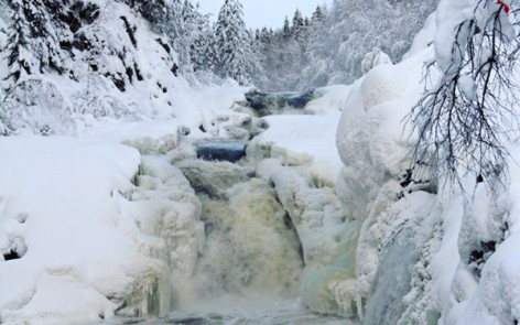 Kivach Waterfall in winter