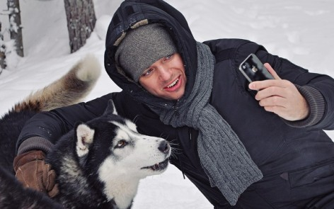 husky sledding in Karelia