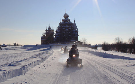 Snowmobile safari to Kizhi